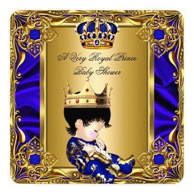 Prince Baby Shower Regal Gold Royal Blue Boy 2a Invitation