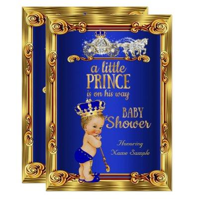 Prince Baby Shower Royal Blue Gold Carriage Blond Invitation