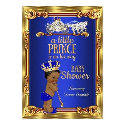 Prince Royal Blue Gold Carriage Ethnic Invitations