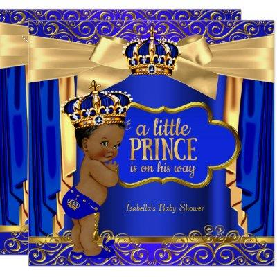 Prince Baby Shower Royal Blue Gold Drapes Ethnic Invitations