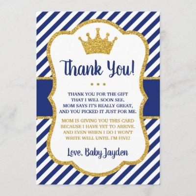 Prince Baby Shower Thank You Invitations | Blue and Gold