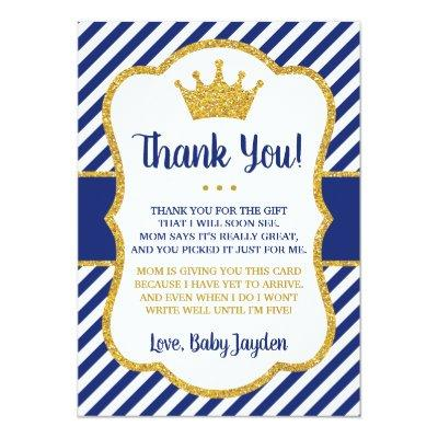 Prince Baby Shower Thank You Invitations   Blue and Gold