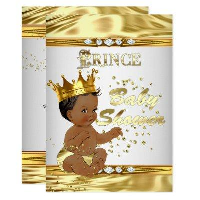 Prince Baby Shower White Gold Foil Ethnic Invitations