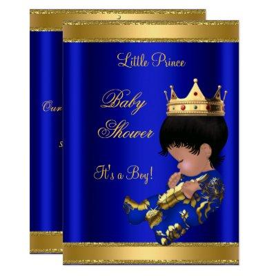 Prince Boy Baby Shower Blue 2 African American Invitation