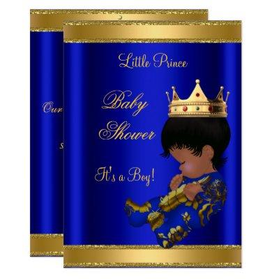 Prince Boy Baby Shower Blue Ethnic Invitations