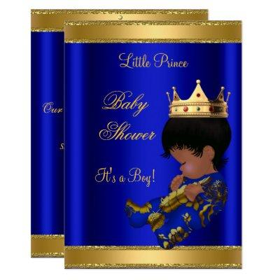 Prince Boy Baby Shower Blue Ethnic Invitation