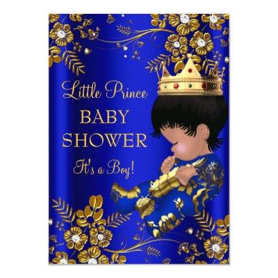Prince Boy Baby Shower Blue Gold Invitations