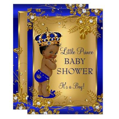 Prince Boy Baby Shower Gold Blue African American Invitations