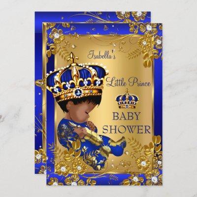 Prince Boy Baby Shower Gold Blue Crown Ethnic Invitation