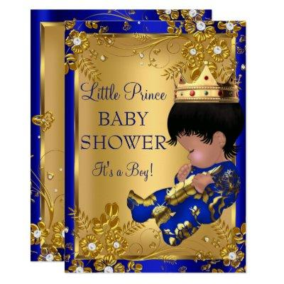 Prince Boy Baby Shower Gold & Blue Invitation