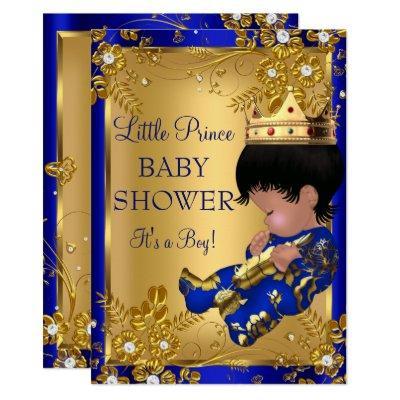 Prince Boy Baby Shower Gold & Blue Invitations