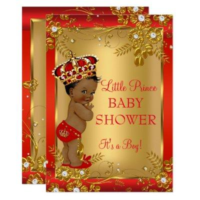 Prince Boy Baby Shower Red Gold African American Invitations
