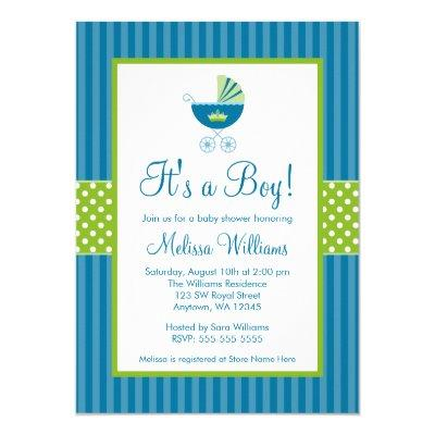 Prince Carriage Blue Green Stripes Invitations