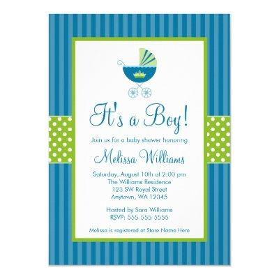 Prince Carriage Blue Green Stripes Baby Shower Invitation