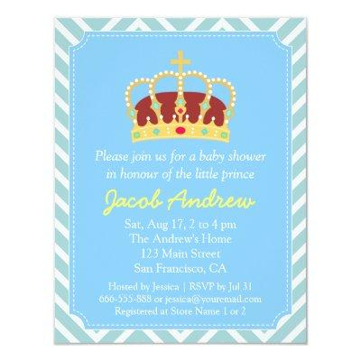 prince baby shower blue white baby shower invitations  baby, Baby shower invitations