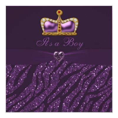 Prince Crown, Heart & Zebra Glitter Baby Shower Invitations