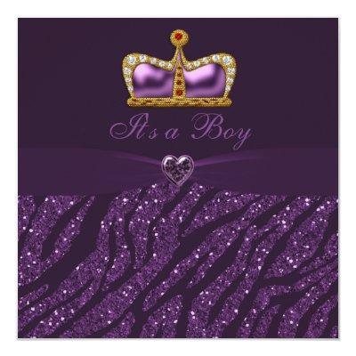 Prince Crown, Heart & Zebra Glitter Baby Shower Invitation
