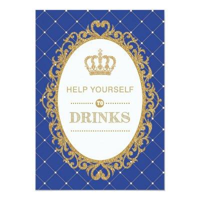 Prince Drinks Sign Royal Gold Baby Shower Decor Invitations