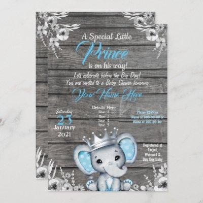 Prince Elephant Baby Shower Invitation Silver Blue