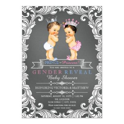 Prince or Princess Chalkboard Gender Reveal Invitation