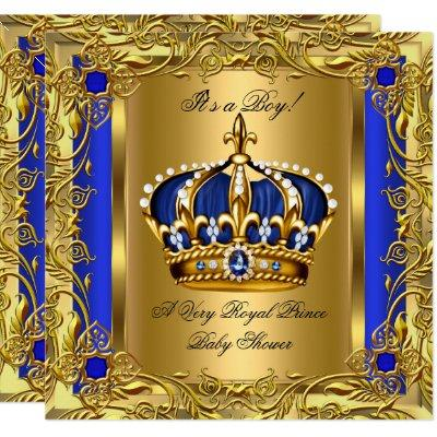Prince Royal Blue Baby Shower Boy Regal Gold 2 Invitation