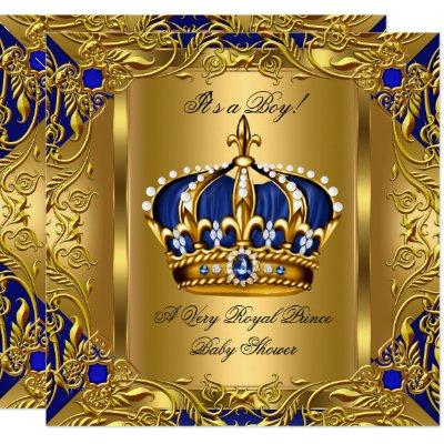 Prince Royal Blue Baby Shower Boy Regal Gold 3 Invitations