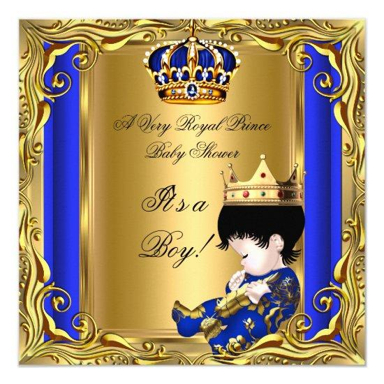 Prince royal blue baby shower gold baby boy invitations baby prince royal blue baby shower gold baby boy invitations filmwisefo