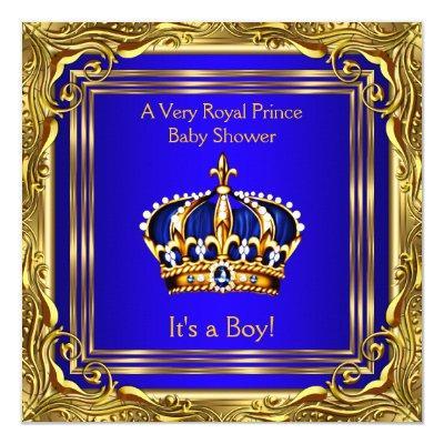 prince royal blue gold boy invitations