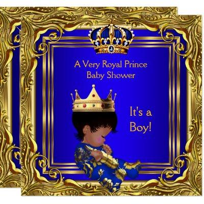 Prince Royal Blue Baby Shower Gold Boy Ethnic Invitations