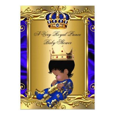 Prince Royal Blue Regal Gold Boy 2 Invitations
