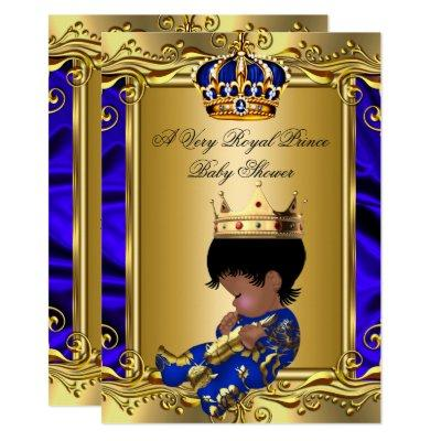 Prince Royal Blue Baby Shower Regal Gold Boy 2 Invitations