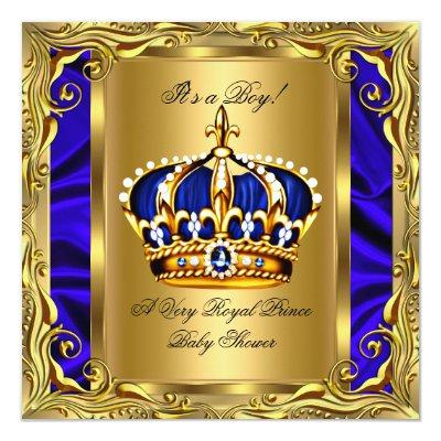 Prince Royal Blue Baby Shower Regal Gold Boy Invitations