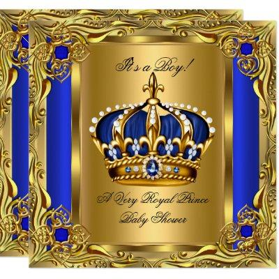 Prince Royal Blue Baby Shower Regal Gold Boy Invitation