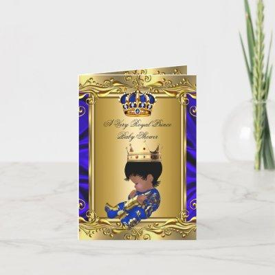 Prince Royal Blue Baby Shower Regal Gold Folded Invitation
