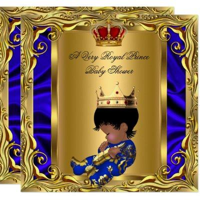Prince Royal Blue Baby Shower Regal Red Gold Boy 5 Invitations