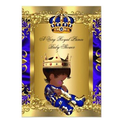 Prince Royal Blue Boy Baby Shower Regal Gold 2 Invitations