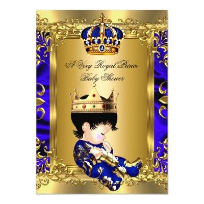 Prince Royal Blue Boy Baby Shower Regal Gold 2a Invitations