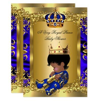 Prince Royal Blue Boy Baby Shower Regal Gold Invitation