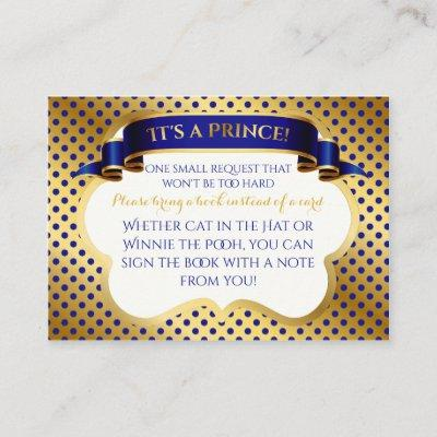 Prince Royal Blue Gold Crown Book Request Enclosure Card