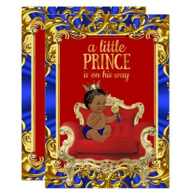 Prince Royal Blue Red Throne Baby Shower Ethnic Invitations