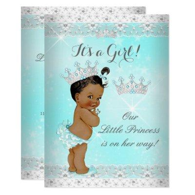 Princess Baby Shower Aqua Lace Tiara Ethnic Invitation