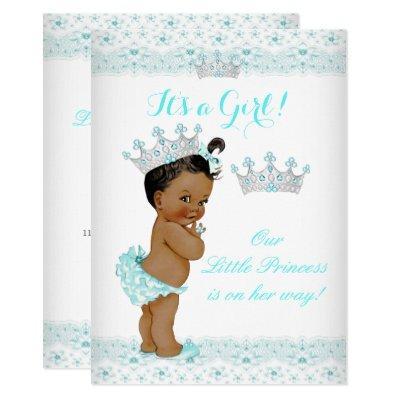 Princess Baby Shower Aqua White Tiara Ethnic Invitation