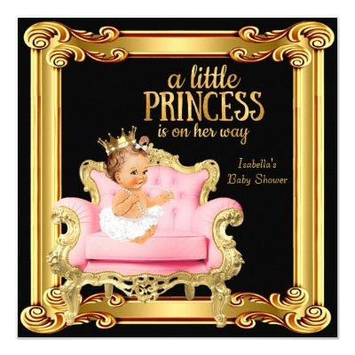 Princess Black Pink Gold Chair Invitations
