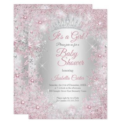 Princess Baby Shower Blush Pink Winter Wonderland Invitation