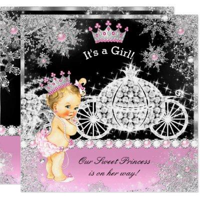 Princess Baby Shower Carriage Pink Black Blonde Invitation