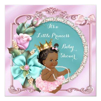 Princess Floral Teal Pink Ethnic Invitations