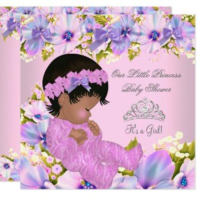Princess Baby Shower Girl floral Pink Purple Invitations