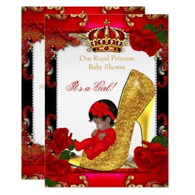 Princess Baby Shower Girl Gold Red Rose Ethnic Invitations