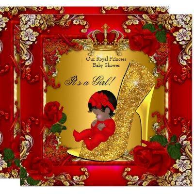 Princess Baby Shower Girl Gold Red Rose Hi Heel Invitations