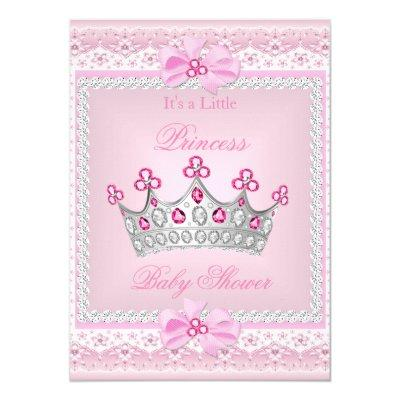 Princess Baby Shower Girl Pink Gem Silver Tiara Invitations